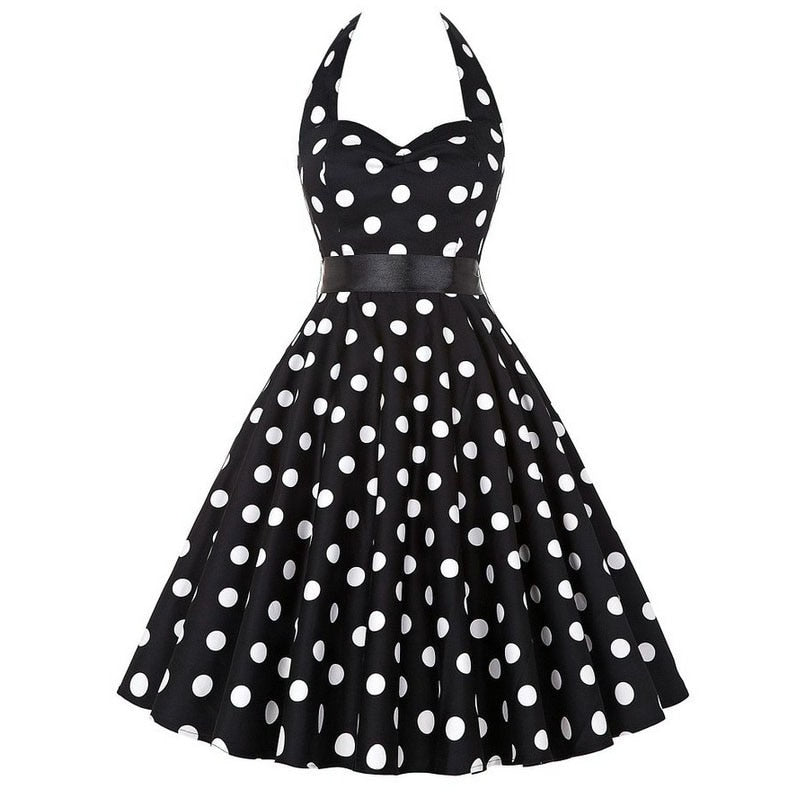 Olivia Carter Retro Vintage Rockabilly Halter Party Dress