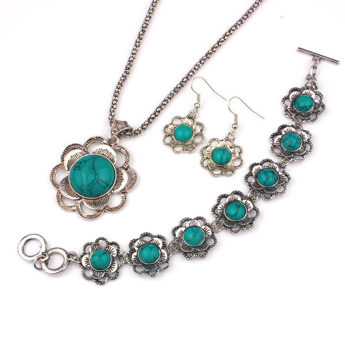 Natural Turquoise Necklace, Bracelet, Earrings Set - Brilliant Hippie