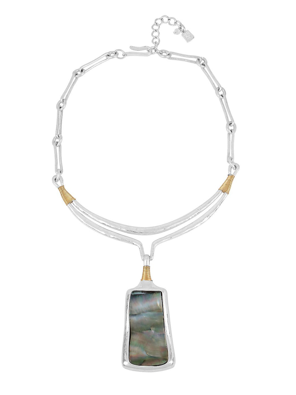 Riley Bold Moves Two-Tone Plated Sculptural Pendant Necklace