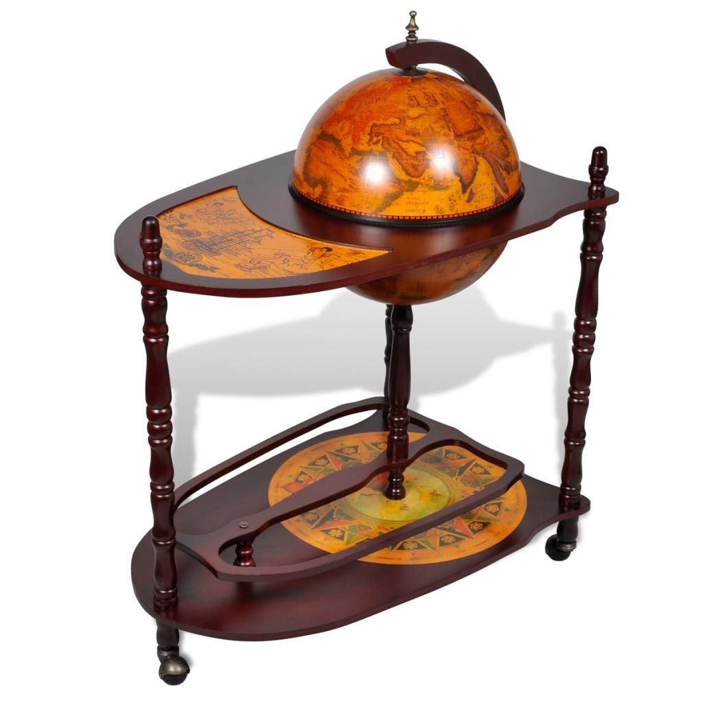 Westminster Old World Extended Shelf Globe Bar Cabinet with Table Trolley