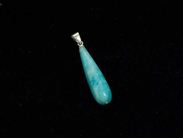 Natural hand carved amazonite stone pendant with a sterling silver