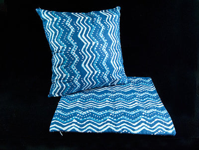 Double sided zippered cushion covers, organic cotton, concealed zipper, with an indigo blue and white geometric hand block print