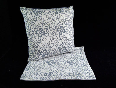 Double sided zippered cushion covers, organic cotton, concealed zipper, with a soft grey and white floral hand block print