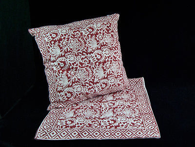 Double sided zippered cushion covers, organic cotton, concealed zipper, with a bold red and white floral and geometric hand block print