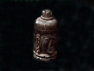 Vintage Buddha Head Carved Hard Wood Canister