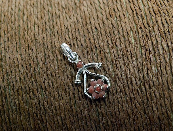Sterling silver and coral pendant for women