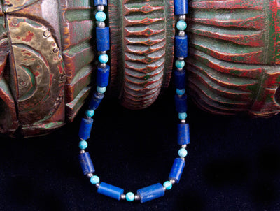 Turquoise and Lapis Tube Necklace