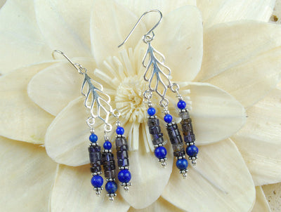 Elegant silver & sone drop earrings combining natural iolite and Afghan lapis lazuli