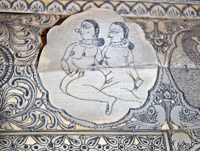 Tala Patachitra Krishna and Karma Sutra Palm Leaf Painting