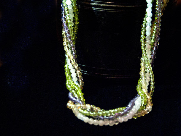 Peridot, Amethyst, Citrine and Moonstone Multistrand Necklace