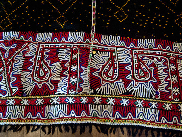 Vintage Tribal Rabari Embroidered Wedding Shawl -Ludhi