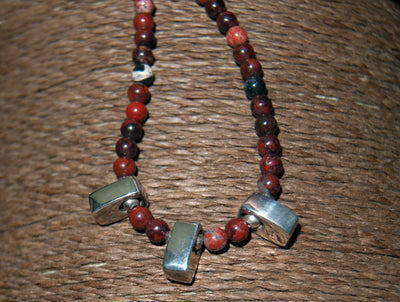 Red jasper and silver women's necklace