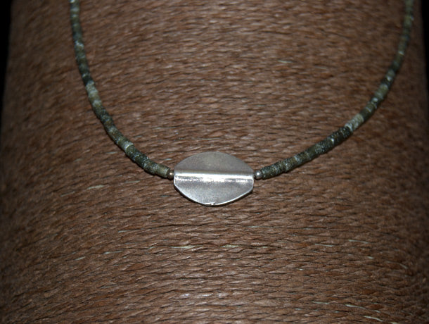 silver and serpentine mens necklace