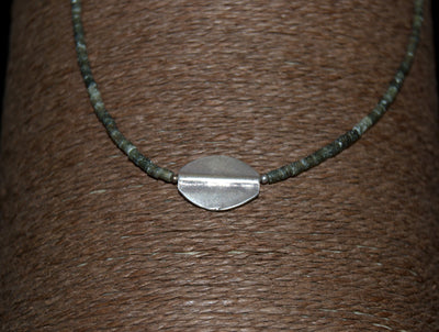 silver and green serpentine bead necklace, natural Afghan jade and a handmade Karen silver leaf pendant