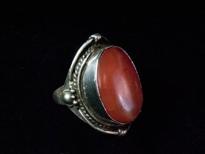 Simple Antique Silver and Carnelian Tibetan Saddle Ring