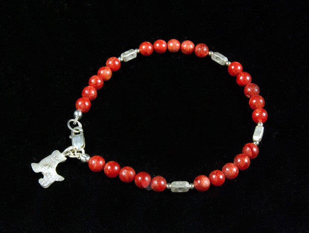 Red Coral and Silver Bracelet with Charm