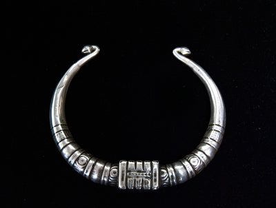 Antique Silver Tribal Torc Necklace