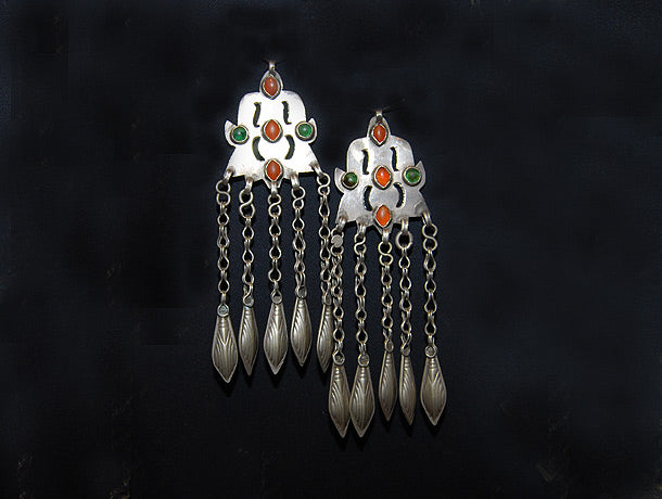 Pair of Antique Silver Ersari Turkoman Dangles