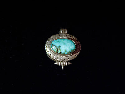 Turquoise and Sterling Silver Gau or Locket