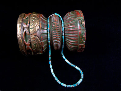 Natural Turquoise Bead Necklace - tubes of sky blue graduated turquoise with sterling silver