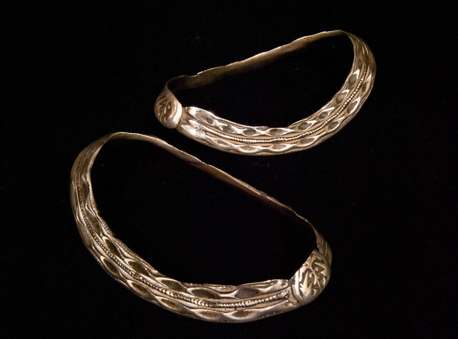 Antique Tribal Silver Anklet Pair