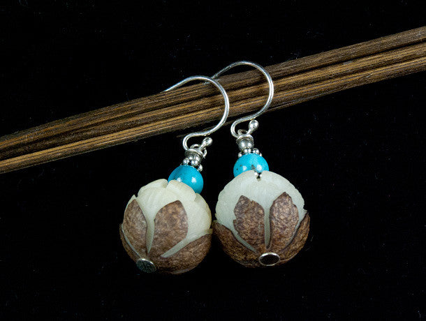 Carved Bodhi Seed and Turquoise Silver Earrings