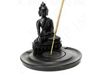 Buddha incense holder made from cast resin and suitable for incense cones or stick incense