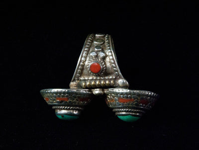 Afghani Turquoise and Coral Silver Ring