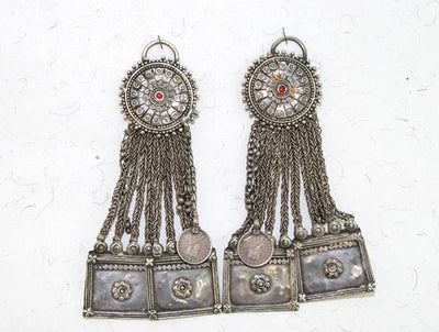 Indian Tribal Silver Women's Ear Ornaments