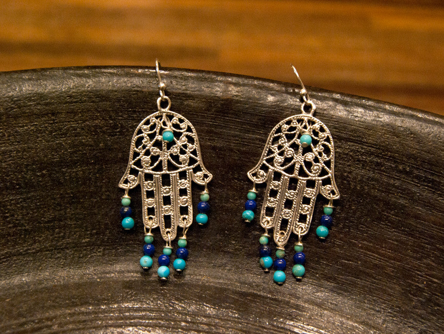 Sterling silver hamsa turquoise and lapis lazuli earrings