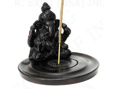 Ganesh Incense holder made from cast resin and suitable for incense cones or stick incense