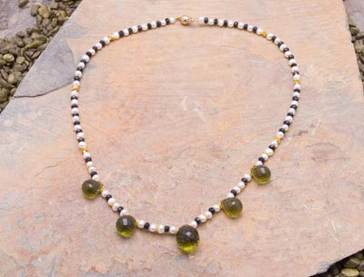 Green Amethyst & 23K Gold Necklace