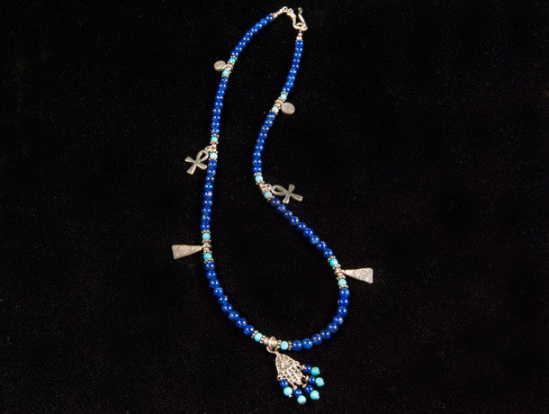 Lapis and Turquoise Hamsa Charm Necklace