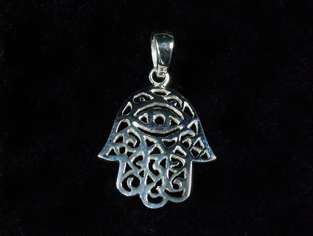 Sterling Silver Hamsa Pendant - womens jewellery - mens jewellery - protection