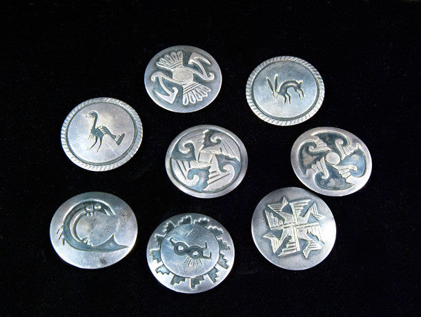 vintage sterling silver overlay medallions once graced a concho belt, and now make very wearable pendants. Hopi Indian circa 1950