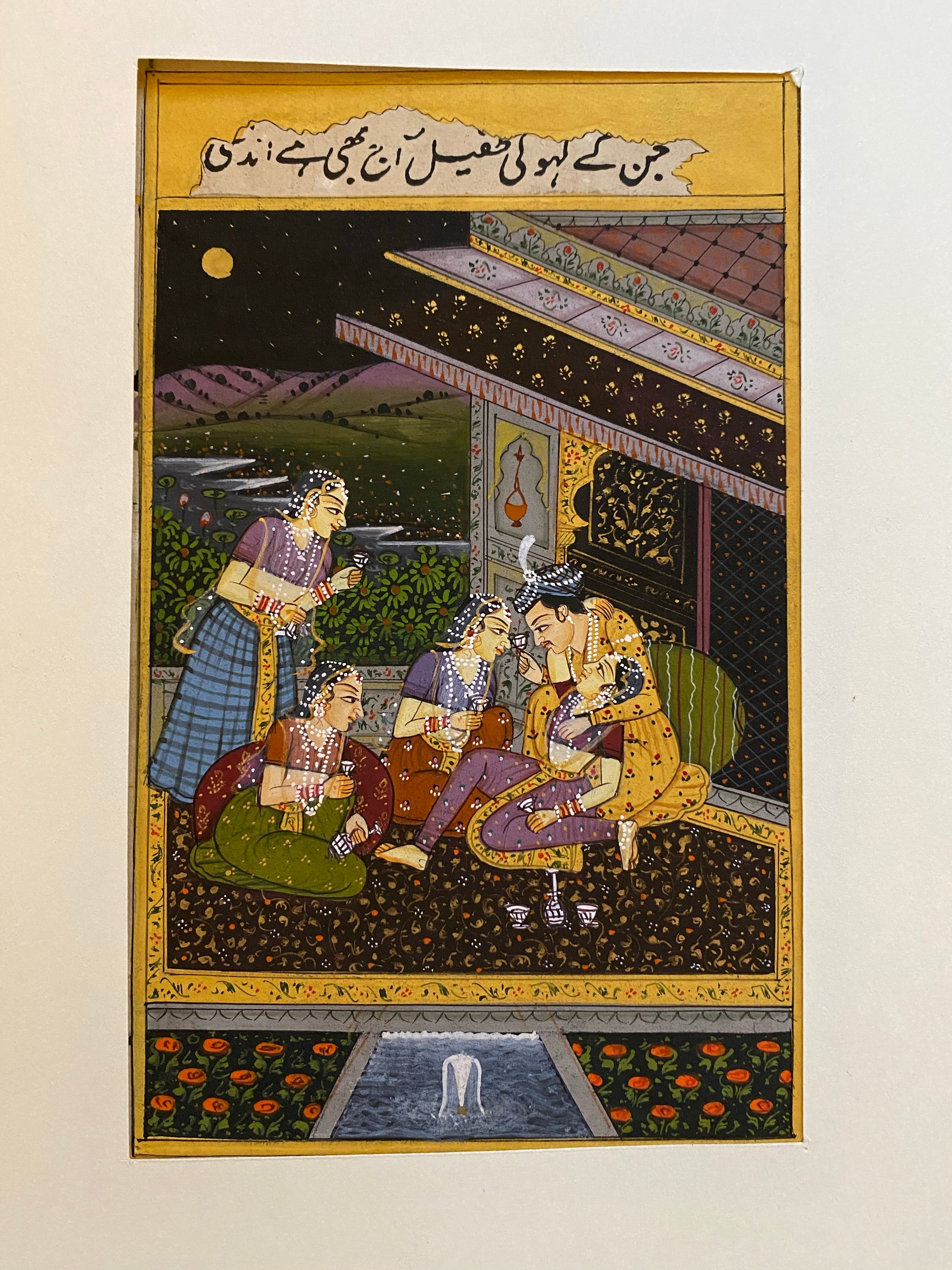 original painting in the Mogul style, depicting a classic love scene from the harem, showing a Maharaja at play with his concubines
