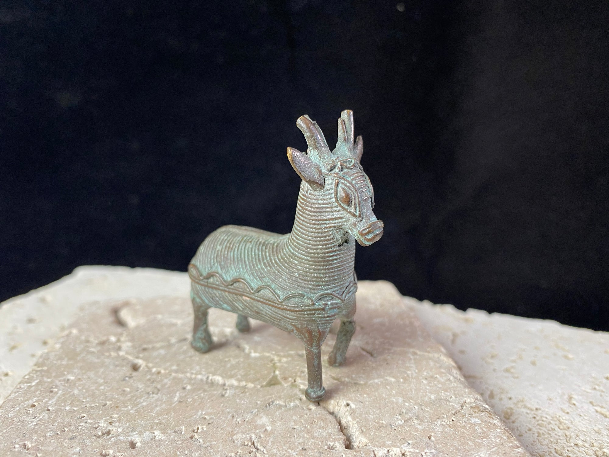 Lost wax copper antique miniature Kond animal statue - the deer