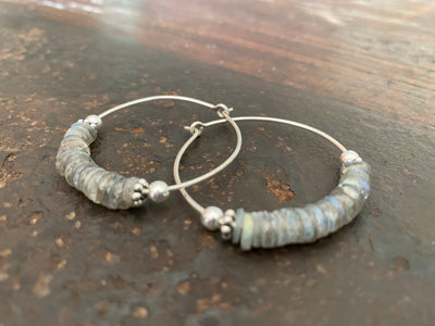 Labradorite earrings facet cut on every side to show off their fire, Sterling silver hoops