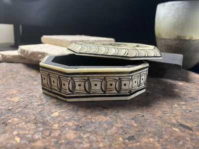 Camel bone and wood trinket or cufflink box