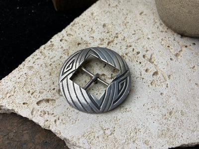 Vintage silver belt buckle, Hopi Indian circa 1950, 2 inches (5.4 cm) diameter