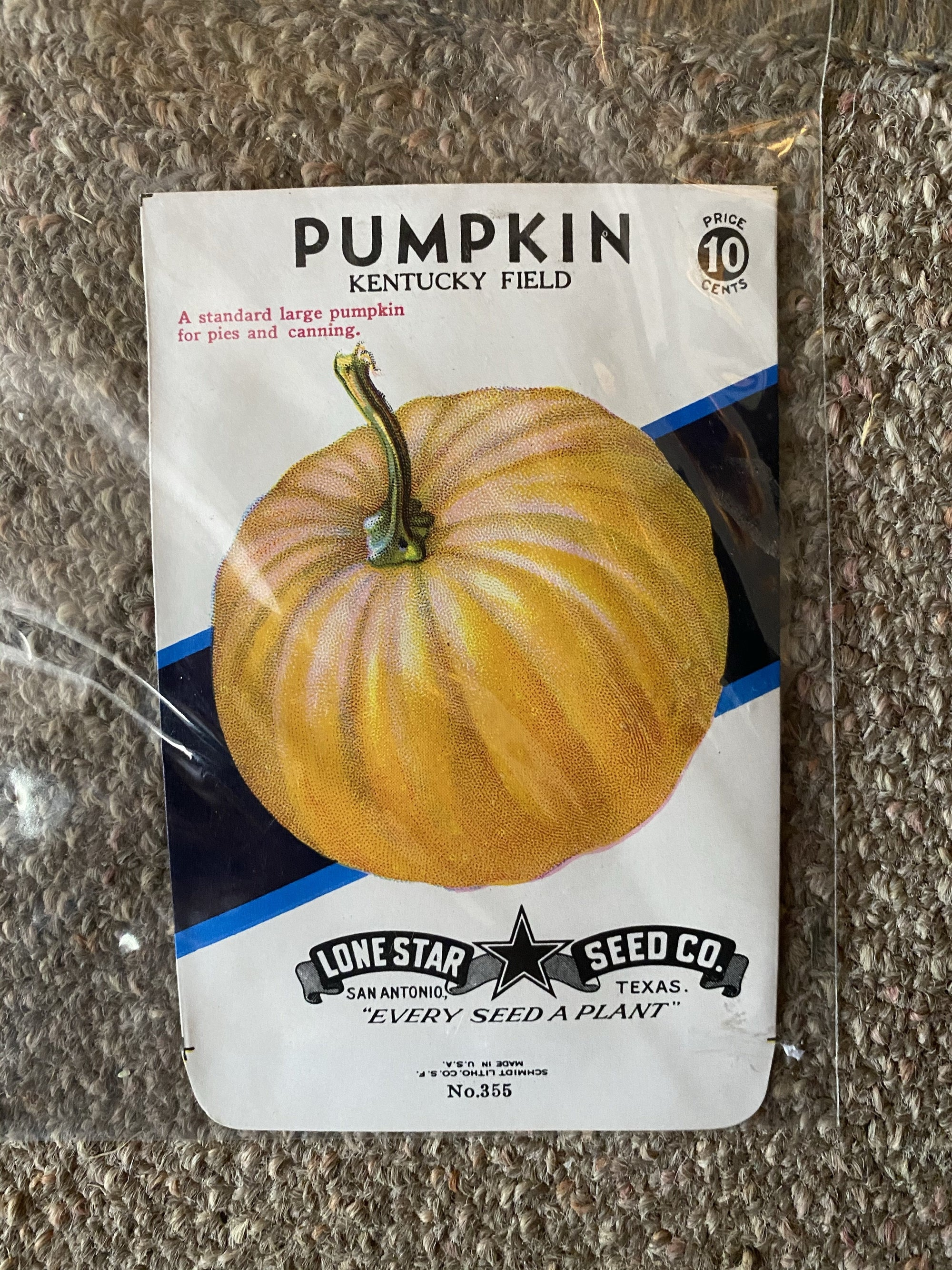 Vintage Lone Star Pumpkin Seed Packet