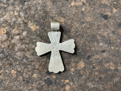 "Late 19th century Ethiopian crucifix cut from a Marie Therese Thaler, high grade silver, worn bail commensurate with age, with an applied silver cut out decoration on the body,  height including bail 5.5 cm (2.2"")"