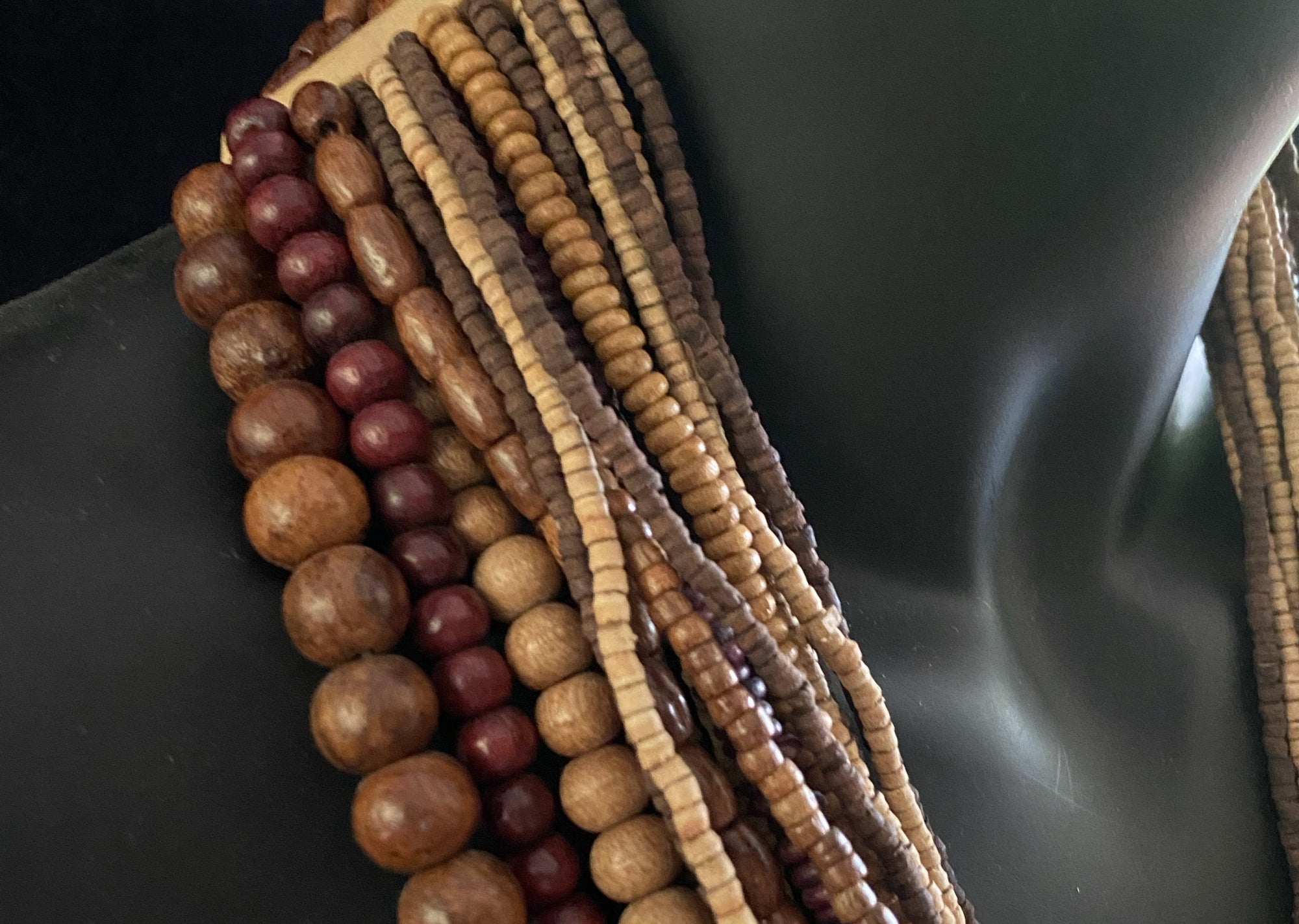 Long beaded wood tribal multi strand necklace