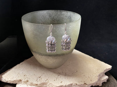 Sterling silver Bollywood earrings, also known as tassel earrings or Indian Jhumka earrings. Sterling silver hooks