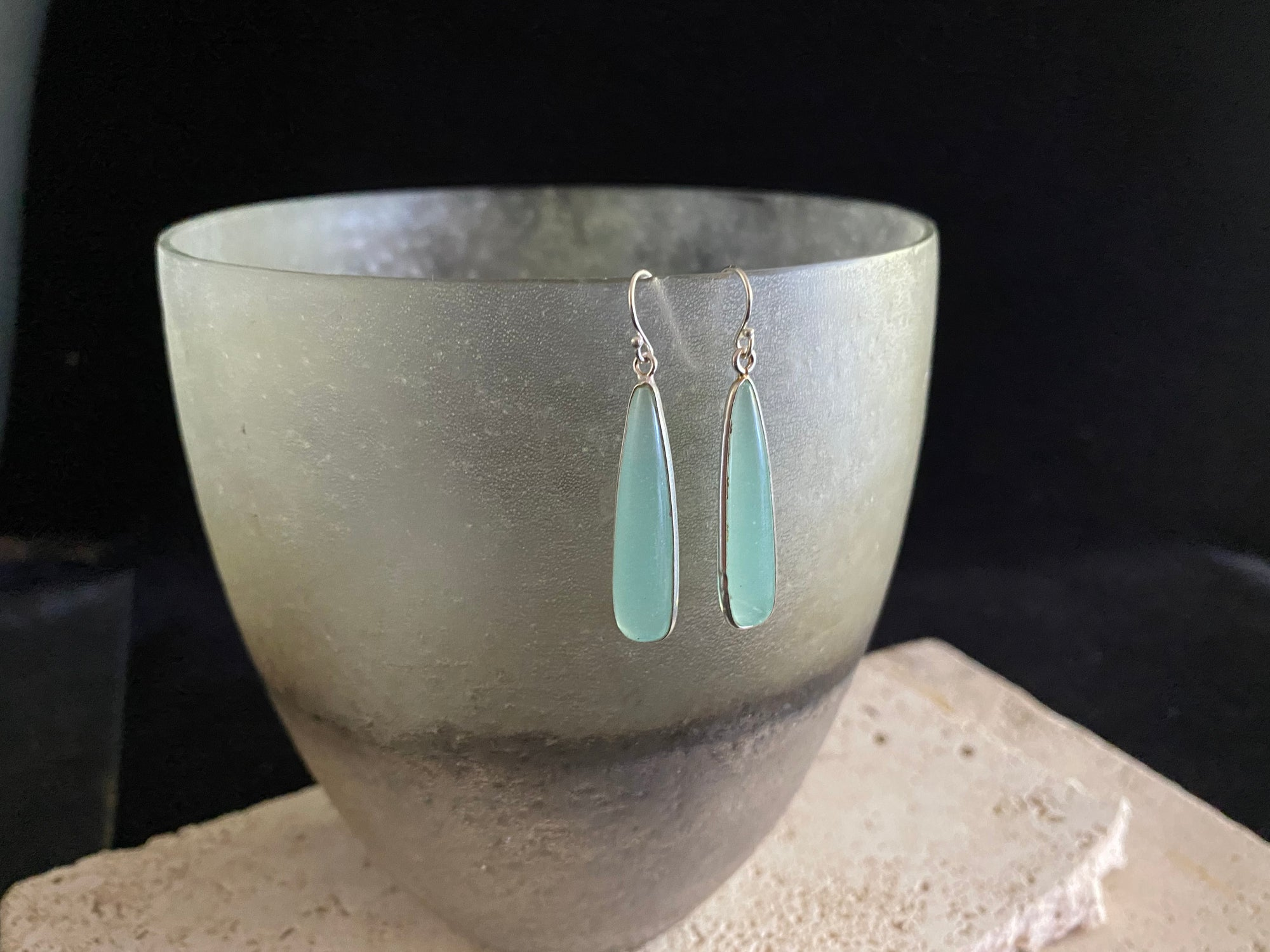 Blue chalcedony teardrop earrings set in sterling silver with a sterling silver hook. 4.5 cm drop