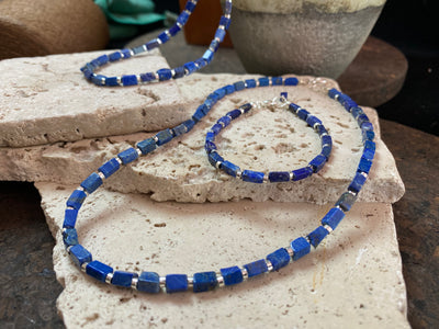 Natural Afghan lapis lazuli cube shaped beads and bright sterling silver necklace. Select from two lengths