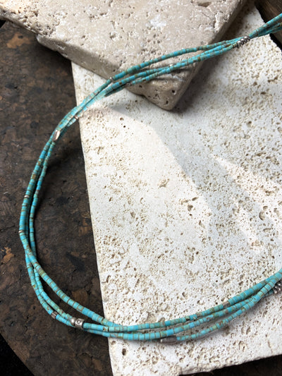 Multistrand fine turquoise and tribal silver necklace - three fine strand of natural Arizona turquoise with handmade Karen hill tribe silver beads and a sterling silver clasp