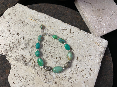 Turquoise And Old Silver Bracelet