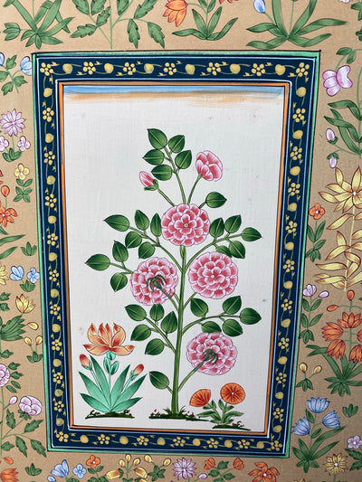 Hand painted water colour of flowers in traditional Indian style