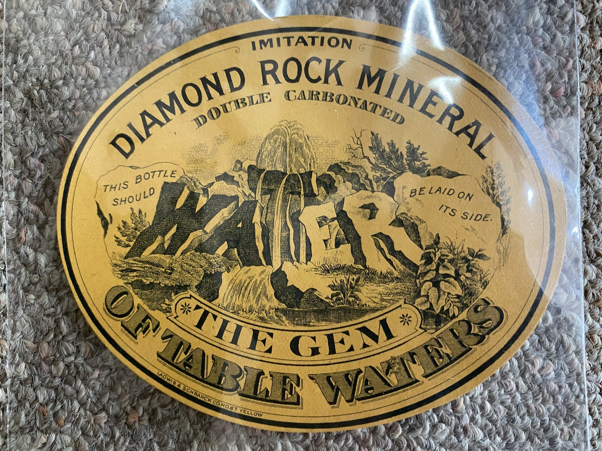 Civil War era bottle label for Diamond Rock mineral water, circa 1880. Mint condition.